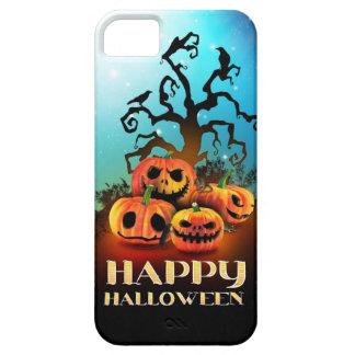 Happy Halloween Pumpkins under a creepy tree iPhone 5 Carcasas