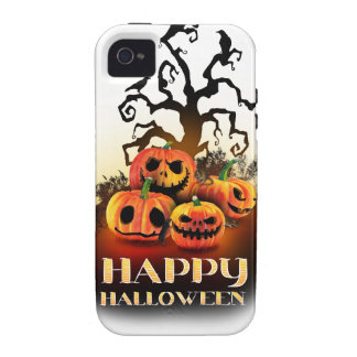 Happy Halloween Pumpkins under a creepy tree Vibe iPhone 4 Fundas