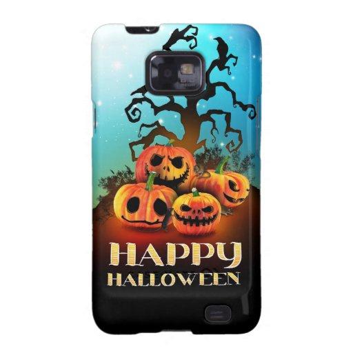 Happy Halloween! Pumpkins under a creepy tree! Funda Para Samsung Galaxy SII