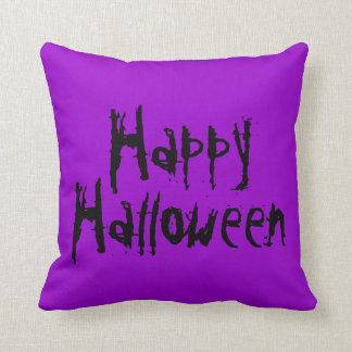Happy Halloween Purple And Black Pillow
