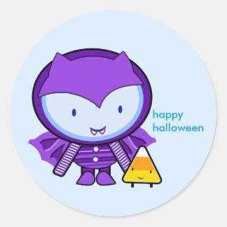 Happy Halloween Purple Bat Baby with Candy - Classic Round Sticker
