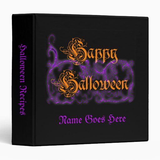 Happy Halloween Purple Scrolls 3 Ring Binders
