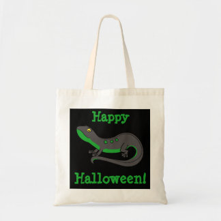 Happy Halloween Quote Tote - Green & Black Newt Budget Tote Bag