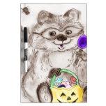Happy Halloween Raccoon Dry-Erase Boards