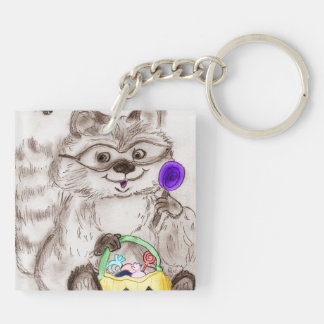 Happy Halloween Raccoon Square Acrylic Keychain