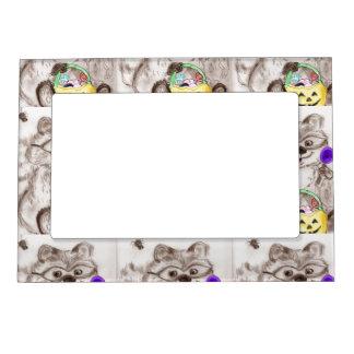 Happy Halloween Raccoon Magnetic Frame