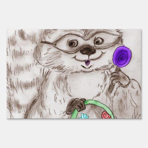 Happy Halloween Raccoon Signs