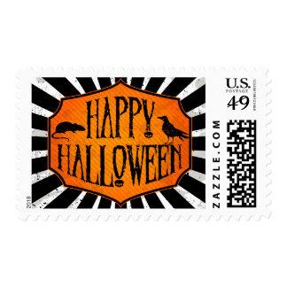Happy Halloween Raven & Rat Postage Stamps