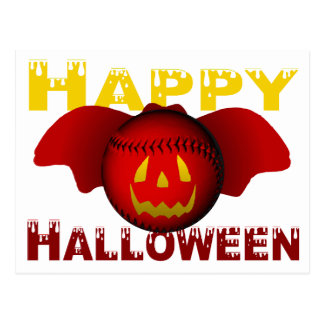 Happy Halloween Red Baseball Bat Post Cards