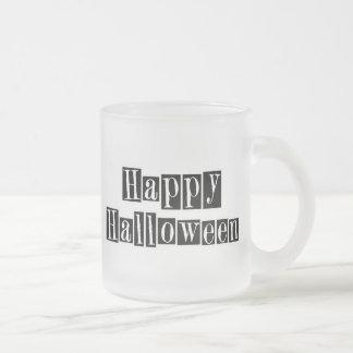 Happy Halloween Retro Blocks 10 Oz Frosted Glass Coffee Mug