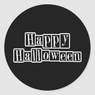 Happy Halloween Retro Blocks Classic Round Sticker