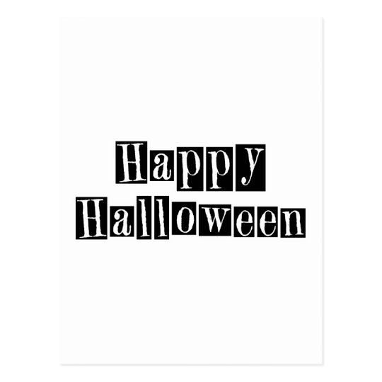 Happy Halloween Retro Blocks Postcard