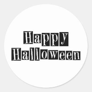 Happy Halloween Retro Blocks Round Stickers