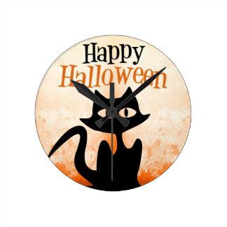 Happy Halloween Round Clock