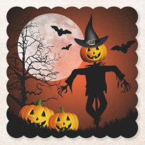 Happy Halloween Scalloped Square Paper Coaster