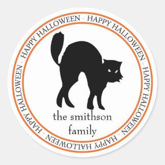 Happy Halloween Scaredy Cat (Black / Orange) Classic Round Sticker
