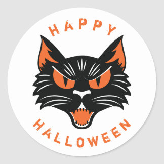Happy Halloween Scary Black Cat Face Classic Round Sticker