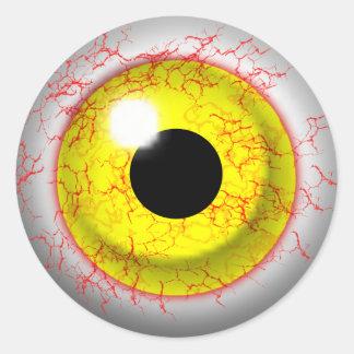 Happy Halloween Scary Bloodshot Zombie Eye Classic Round Sticker