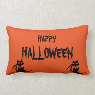 Happy Halloween Scary Cat Orange Throw Lumbar Pillow