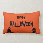 Happy Halloween Scary Cat Orange Throw Pillow