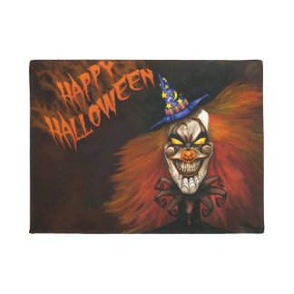 Happy Halloween Scary Clown Doormat