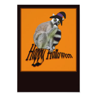 "Happy Halloween"" Scary Lemur in a Witch Hat Invite"