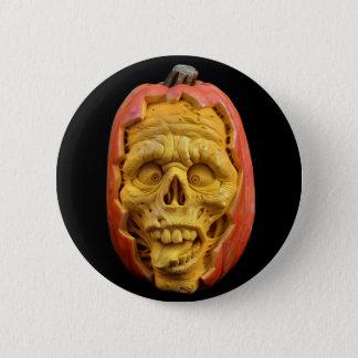 Happy Halloween Scary Skull Pumpkin Face Button