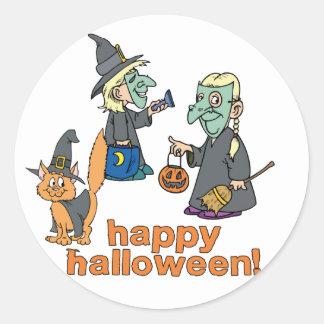 Happy Halloween Scene Classic Round Sticker