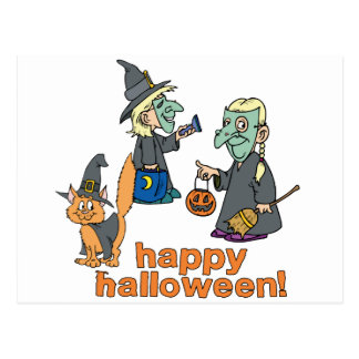 Happy Halloween Scene Postcard