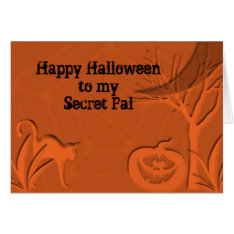 Happy Halloween Secret Pal Card at Zazzle