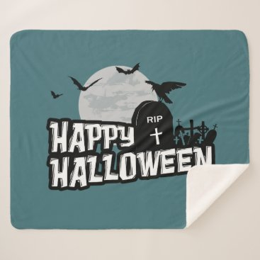 Halloween Themed Happy Halloween Sherpa Blanket