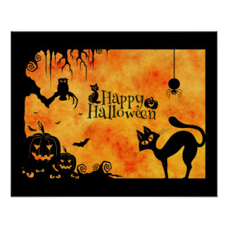 Happy Halloween Silhouette Black Cat and Friends Poster