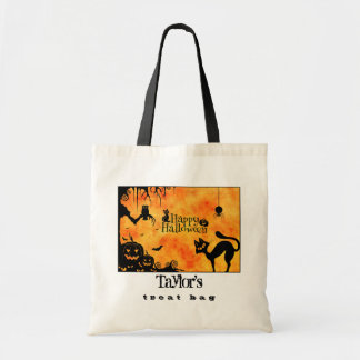 Happy Halloween Silhouette Black Cat and Friends Tote Bag