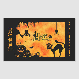 Happy Halloween Silhouette Black Cat Thank You Rectangular Sticker