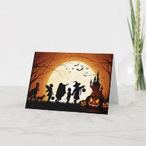 Happy Halloween Silhouette Children Card