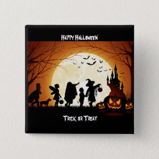 Happy Halloween Silhouette Children Pinback Button