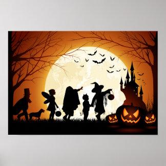 Happy Halloween Silhouette Children Poster