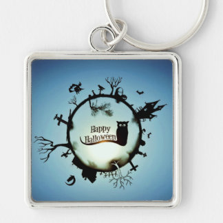 HAPPY HALLOWEEN! Silver-Colored SQUARE KEYCHAIN