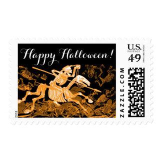 Happy Halloween Skeleton Horseman Postage Stamp.
