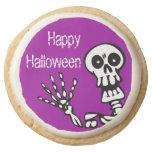 Happy Halloween Skeleton Party Round Premium Shortbread Cookie