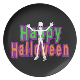 Happy Halloween Skeleton Party Plate