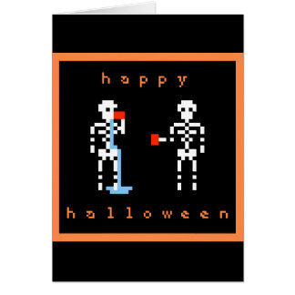 Happy Halloween Skeleton Spill Pixel Art Card
