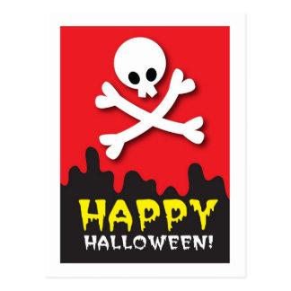 Happy Halloween! skull and crossbones Postcard