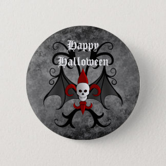 Happy Halloween skull and red fleur de lis Pinback Button