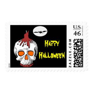 Happy Halloween Skull Postage Stamp