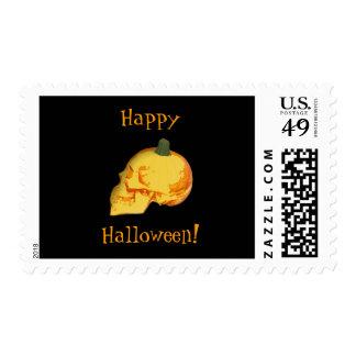 Happy Halloween Skull Pumpkin Stamp