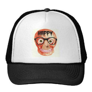 HAPPY HALLOWEEN SKULL WITH PARTY GLASSES MESH HATS