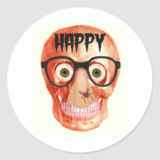 HAPPY HALLOWEEN SKULL WITH PARTY GLASSES STICKERS