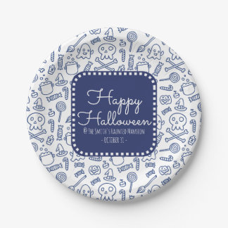 Happy Halloween Skulls Ghosts Witches and Candy Paper Plate