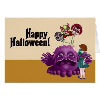 Happy Halloween - skulls monsters & little girls 3 Card